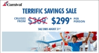 terrific savings with carnival cruises